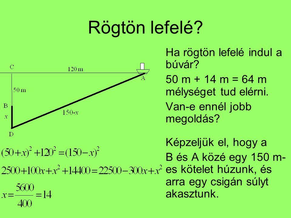Rögtön lefelé? Ha rögtön lefelé indul a búvár? 50 m + 14 m = 64 m mélységet tud elérni. Van-e ennél jobb megoldás? Képzeljük el, hogy a B és A közé eg