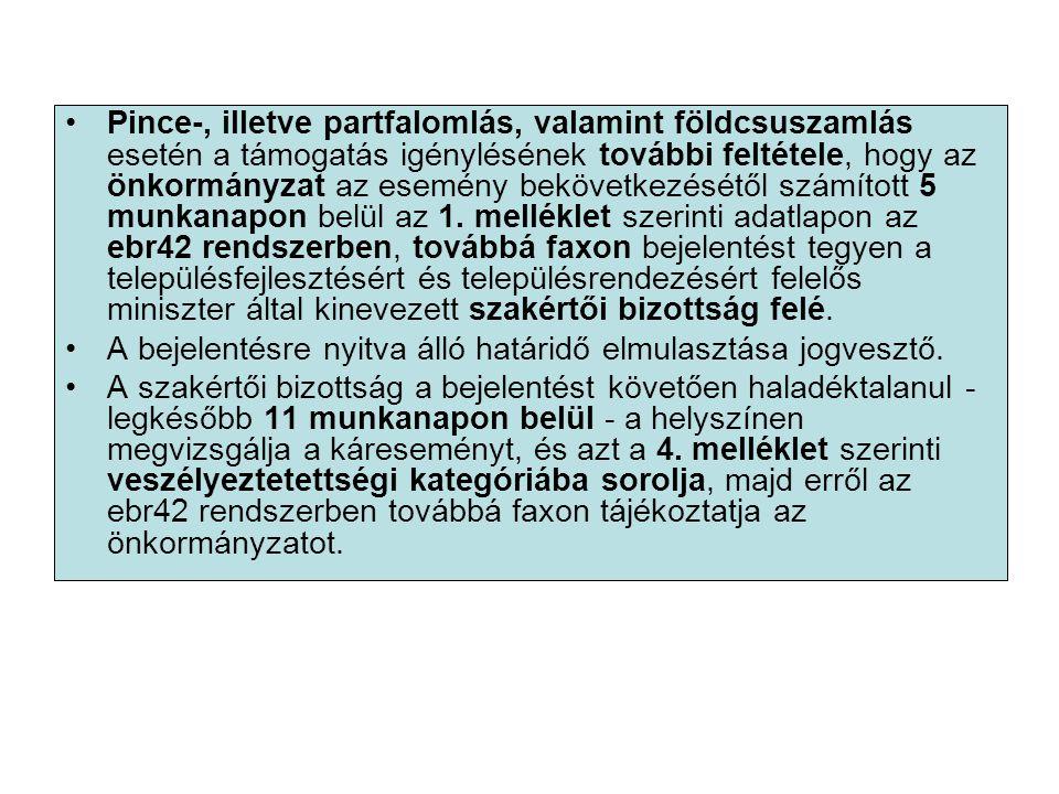 Pince-, illetve partfalomlás, valamint földcsuszamlás esetén a támogatás igénylésének további feltétele, hogy az önkormányzat az esemény bekövetkezésétől számított 5 munkanapon belül az 1.