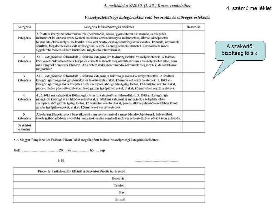 4. számú melléklet A szakértői bizottság tölti ki