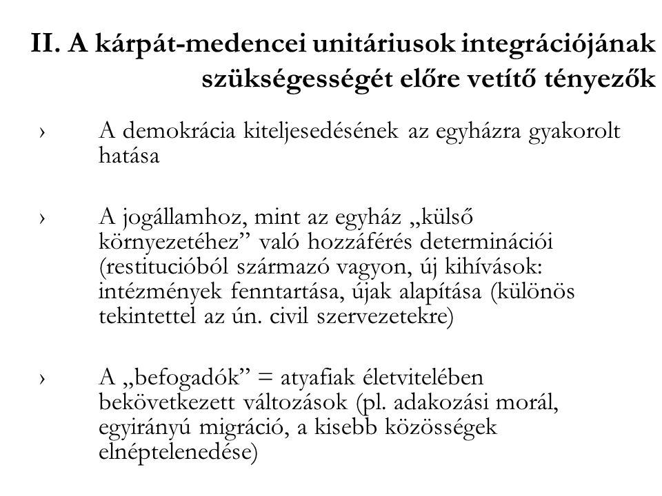 II. A kárpát-medencei unitáriusok integrációjának szükségességét előre vetítő tényezők ›A demokrácia kiteljesedésének az egyházra gyakorolt hatása ›A