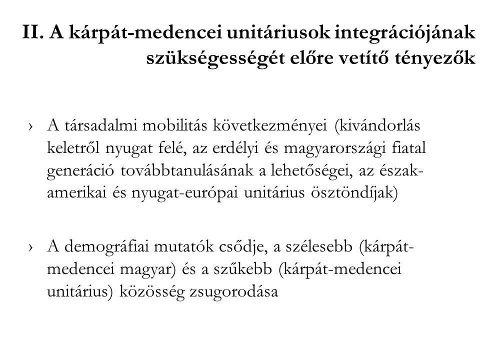 II. A kárpát-medencei unitáriusok integrációjának szükségességét előre vetítő tényezők ›A társadalmi mobilitás következményei (kivándorlás keletről ny