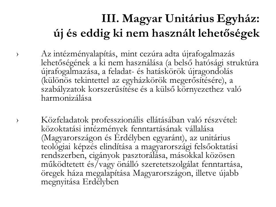 III. Magyar Unitárius Egyház: új és eddig ki nem használt lehetőségek ›Az intézményalapítás, mint cezúra adta újrafogalmazás lehetőségének a ki nem ha