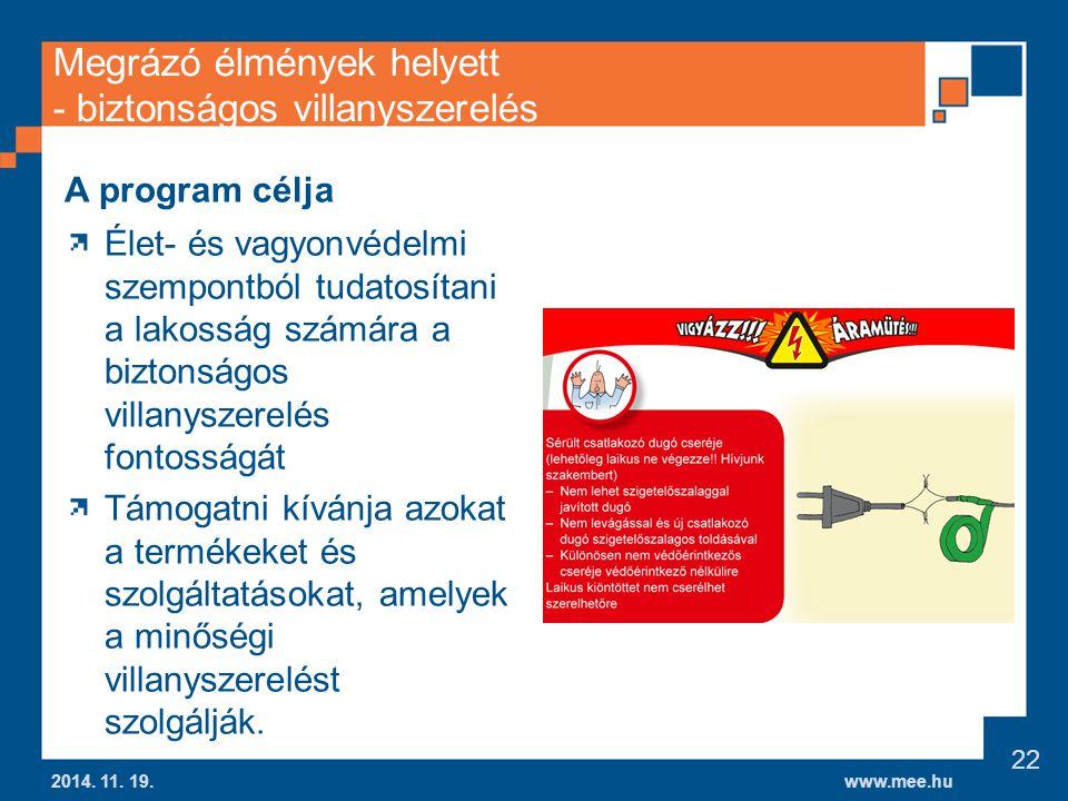 www.mee.hu Megrázó élmények helyett - biztonságos villanyszerelés 2014.