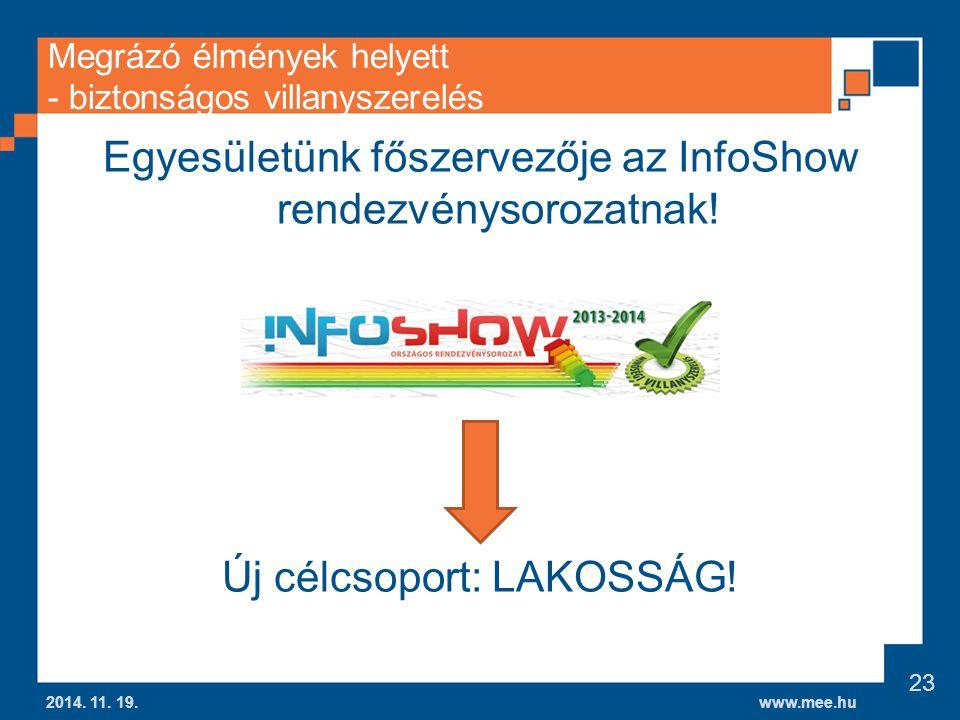 www.mee.hu Megrázó élmények helyett - biztonságos villanyszerelés Egyesületünk főszervezője az InfoShow rendezvénysorozatnak.