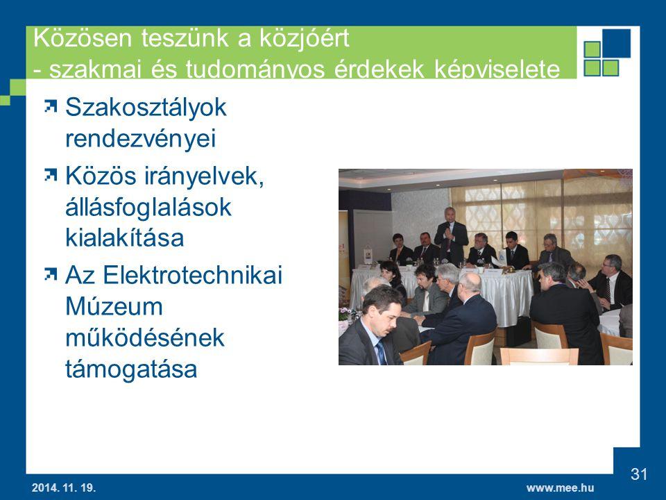 www.mee.hu Közösen teszünk a közjóért - szakmai és tudományos érdekek képviselete 2014.