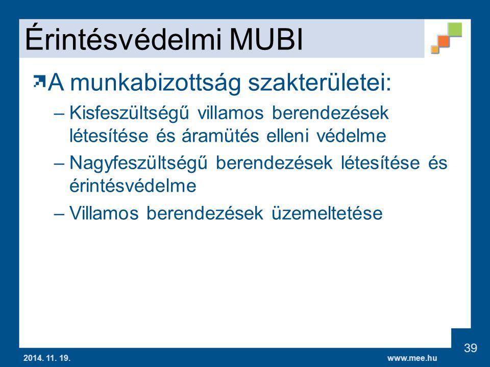www.mee.hu Érintésvédelmi MUBI A munkabizottság szakterületei: –Kisfeszültségű villamos berendezések létesítése és áramütés elleni védelme –Nagyfeszültségű berendezések létesítése és érintésvédelme –Villamos berendezések üzemeltetése 2014.