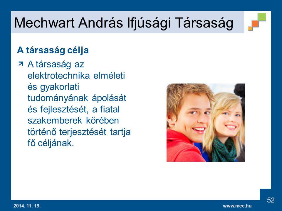 www.mee.hu Mechwart András Ifjúsági Társaság 2014.
