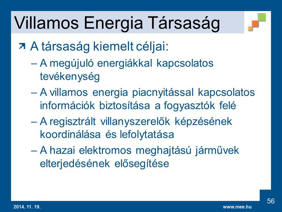 www.mee.hu Villamos Energia Társaság A társaság kiemelt céljai: –A megújuló energiákkal kapcsolatos tevékenység –A villamos energia piacnyitással kapcsolatos információk biztosítása a fogyasztók felé –A regisztrált villanyszerelők képzésének koordinálása és lefolytatása –A hazai elektromos meghajtású járművek elterjedésének elősegítése 2014.