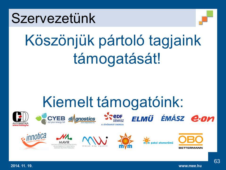 www.mee.hu Szervezetünk Köszönjük pártoló tagjaink támogatását.
