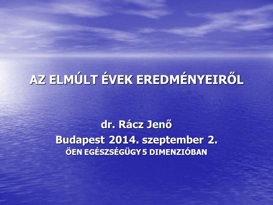 AZ ELMÚLT ÉVEK EREDMÉNYEIRŐL dr. Rácz Jenő Budapest 2014.