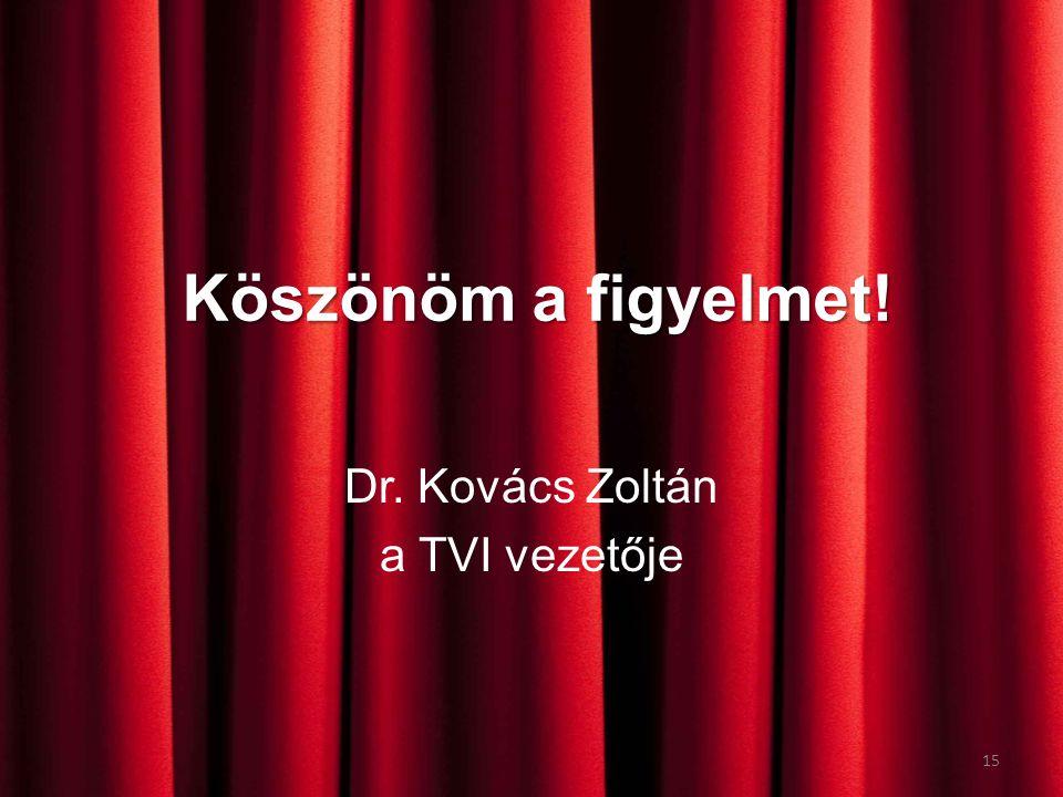 Köszönöm a figyelmet! Dr. Kovács Zoltán a TVI vezetője 15