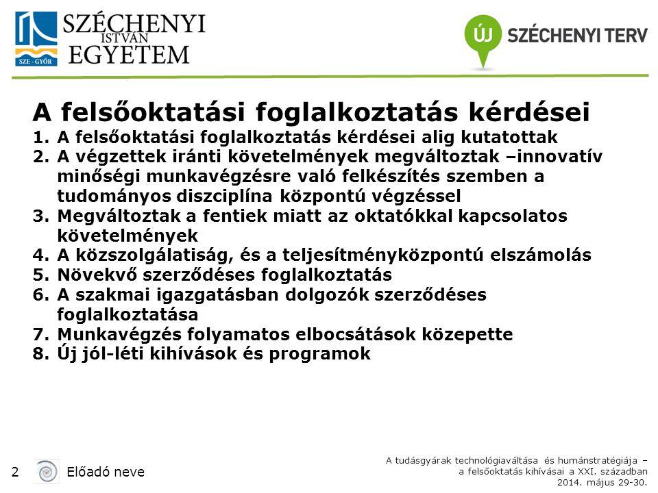 2Előadó neve A tudásgyárak technológiaváltása és humánstratégiája – a felsőoktatás kihívásai a XXI.