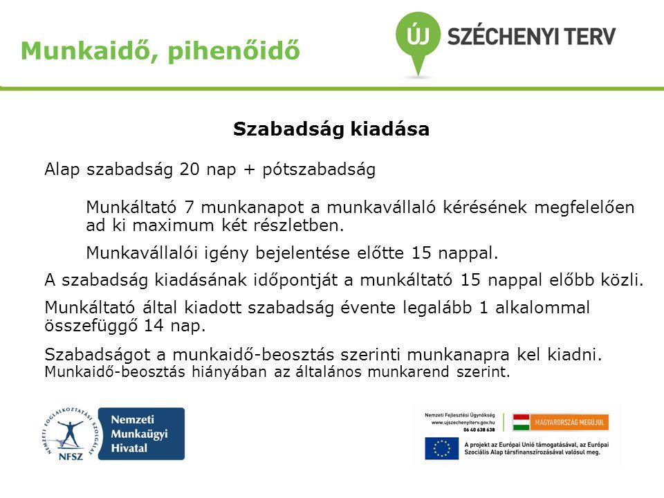 Munkaidő, pihenőidő Szabadság kiadása Alap szabadság 20 nap + pótszabadság Munkáltató 7 munkanapot a munkavállaló kérésének megfelelően ad ki maximum két részletben.