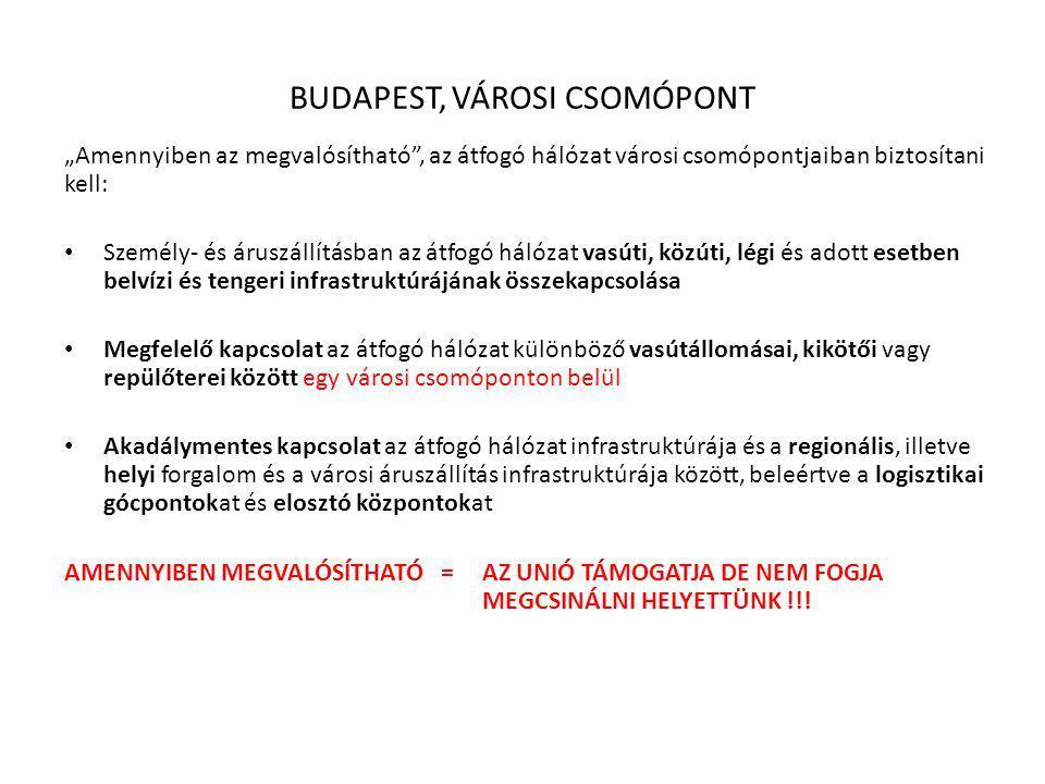 """BUDAPEST, VÁROSI CSOMÓPONT """"Amennyiben az megvalósítható"""", az átfogó hálózat városi csomópontjaiban biztosítani kell: Személy- és áruszállításban az á"""