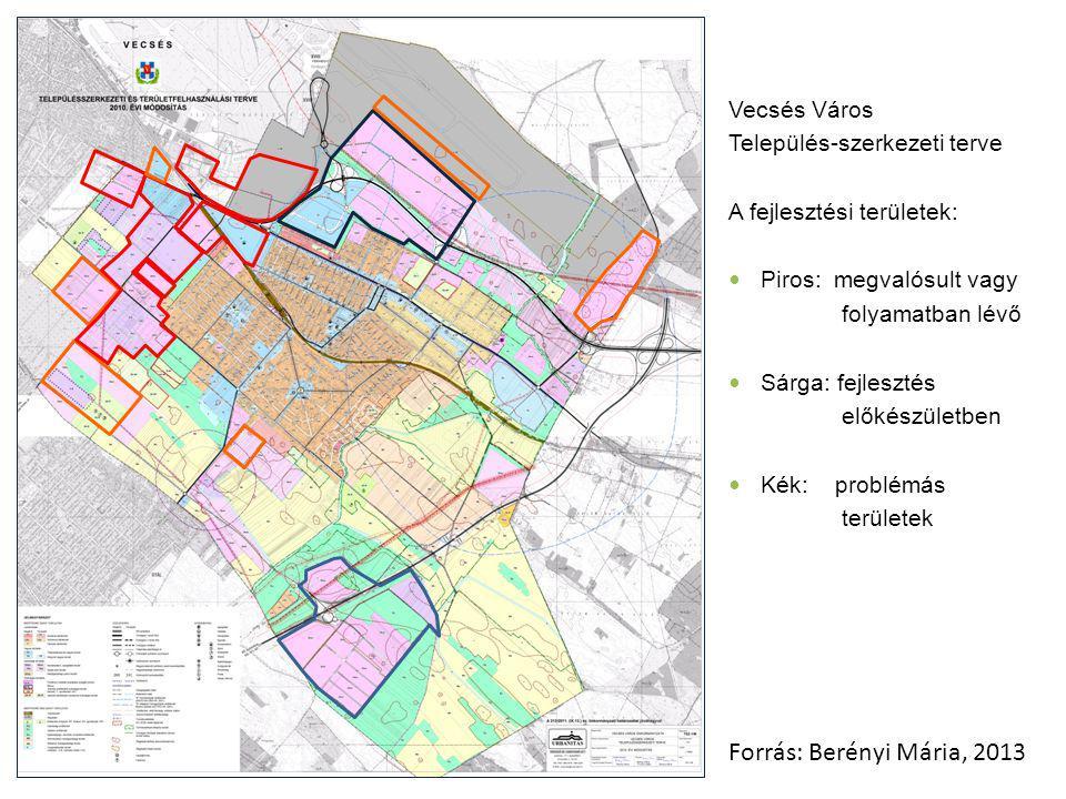 Vecsés Város Település-szerkezeti terve A fejlesztési területek: Piros: megvalósult vagy folyamatban lévő Sárga: fejlesztés előkészületben Kék: problémás területek Forrás: Berényi Mária, 2013