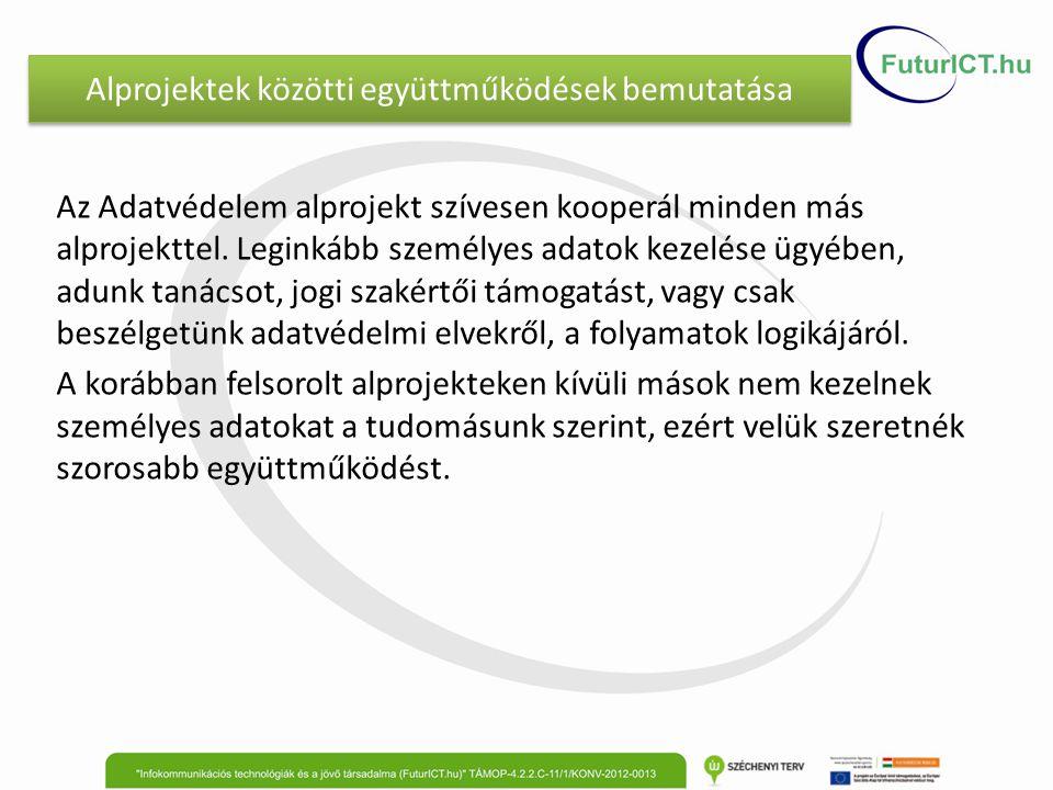 Alprojektek közötti együttműködések bemutatása Az Adatvédelem alprojekt szívesen kooperál minden más alprojekttel. Leginkább személyes adatok kezelése