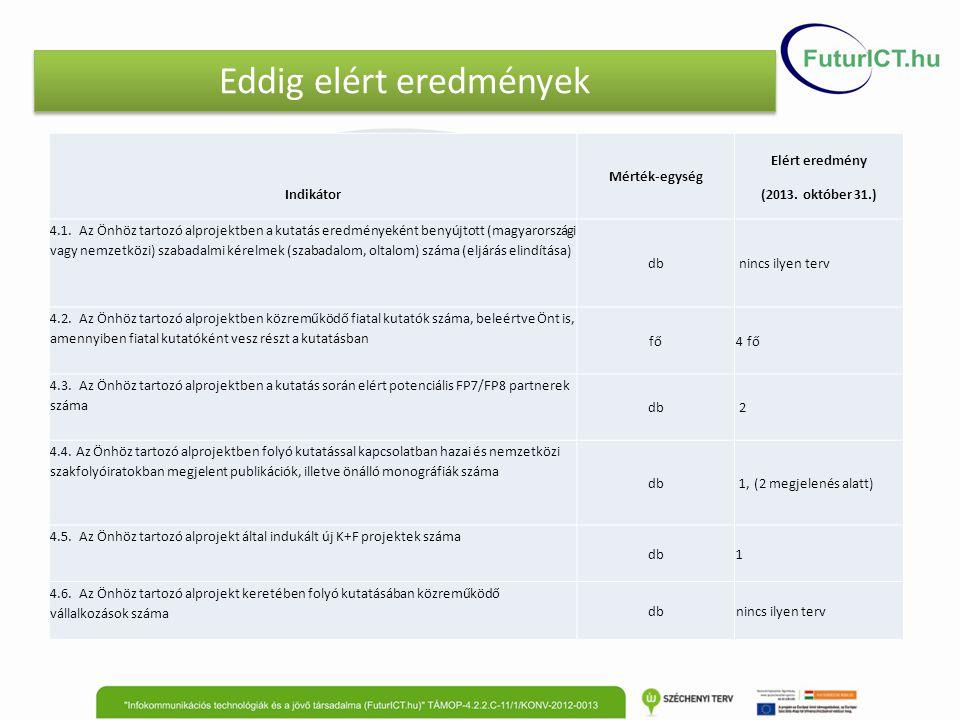 Eddig elért eredmények Indikátor Mérték-egység Elért eredmény (2013. október 31.) 4.1. Az Önhöz tartozó alprojektben a kutatás eredményeként benyújtot