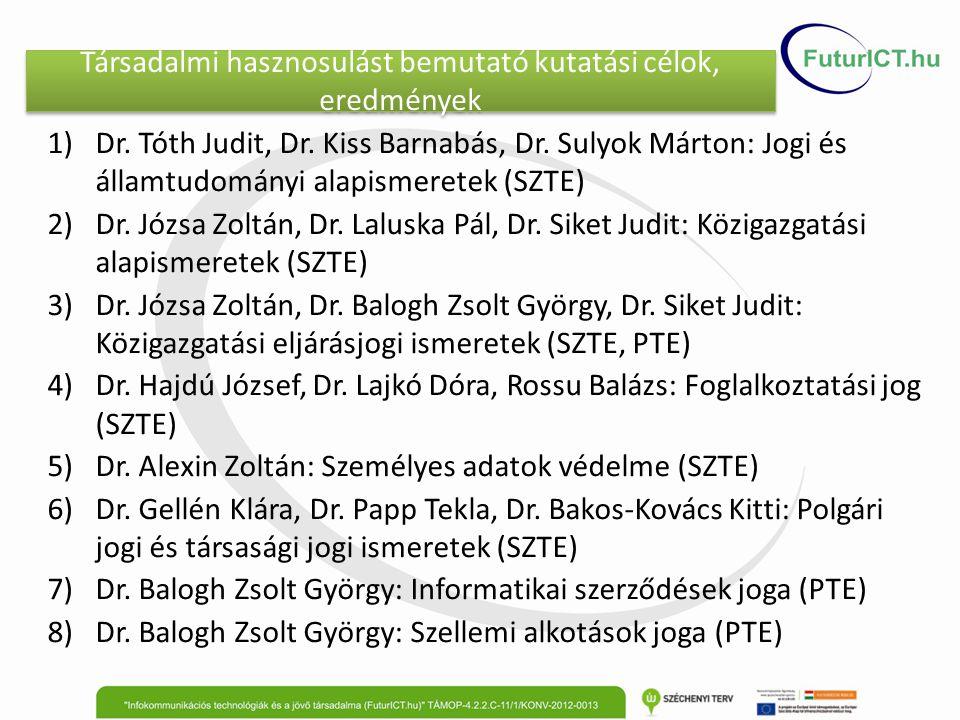 Társadalmi hasznosulást bemutató kutatási célok, eredmények 1)Dr. Tóth Judit, Dr. Kiss Barnabás, Dr. Sulyok Márton: Jogi és államtudományi alapismeret