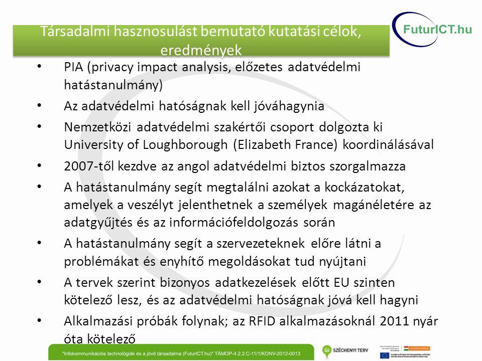 Társadalmi hasznosulást bemutató kutatási célok, eredmények PIA (privacy impact analysis, előzetes adatvédelmi hatástanulmány) Az adatvédelmi hatóságn