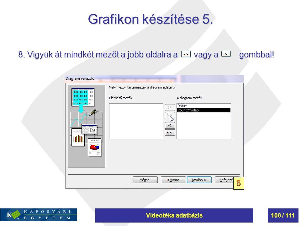 Videotéka adatbázis100 / 111 Grafikon készítése 5. 8. Vigyük át mindkét mezőt a jobb oldalra a vagy a gombbal! 5