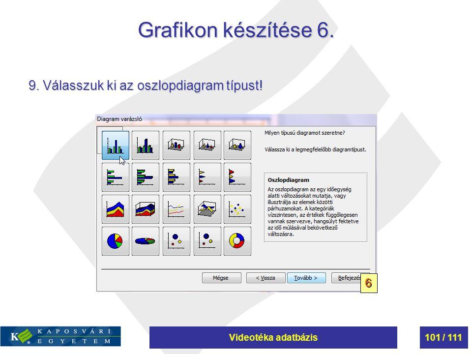 Videotéka adatbázis101 / 111 Grafikon készítése 6. 9. Válasszuk ki az oszlopdiagram típust! 6