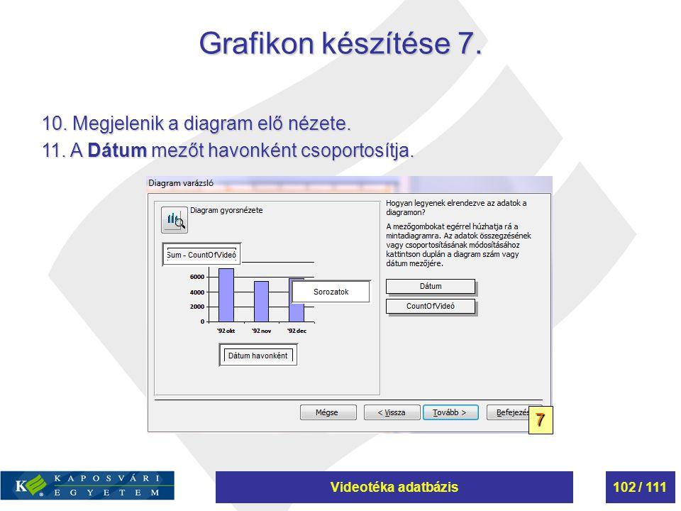 Videotéka adatbázis102 / 111 Grafikon készítése 7. 10. Megjelenik a diagram elő nézete. 11. A Dátum mezőt havonként csoportosítja. 7