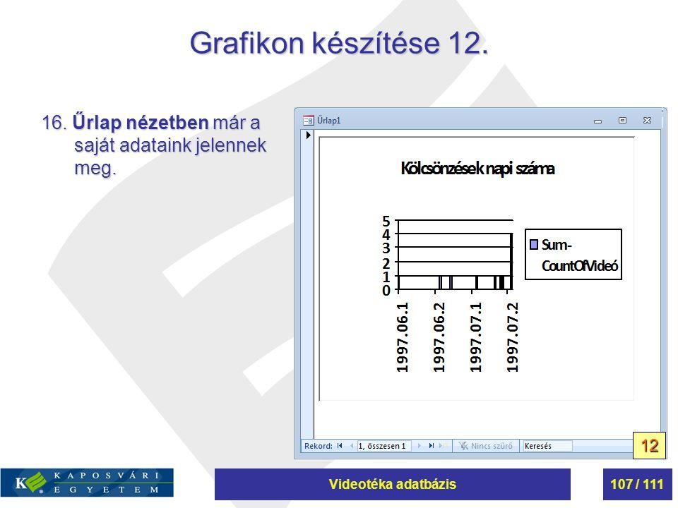 Videotéka adatbázis107 / 111 Grafikon készítése 12. 16. Űrlap nézetben már a saját adataink jelennek meg. 12