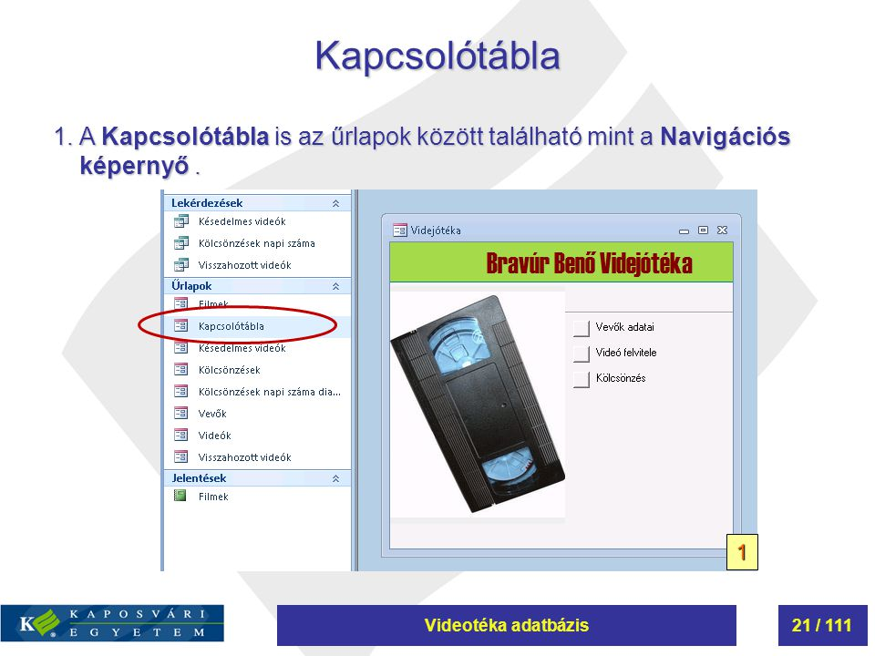 Videotéka adatbázis21 / 111Kapcsolótábla 1.A Kapcsolótábla is az űrlapok között található mint a Navigációs képernyő. 1