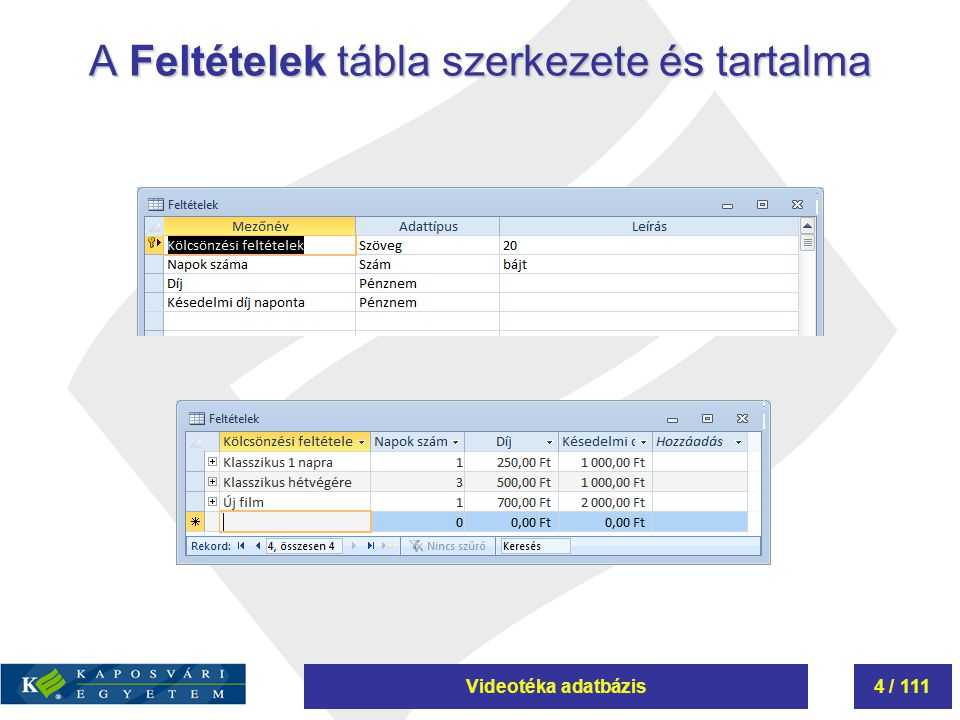 Videotéka adatbázis95 / 111 Összesítés használata lekérdezésekben 3.