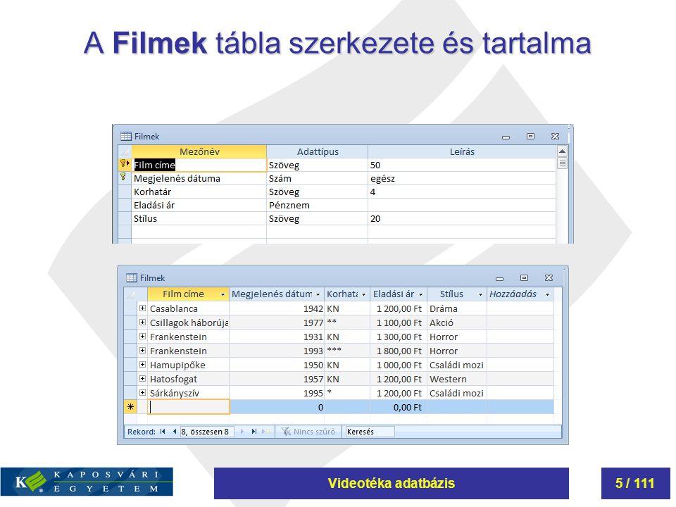 Videotéka adatbázis6 / 111 A Kölcsönzések tábla szerkezete és tartalma