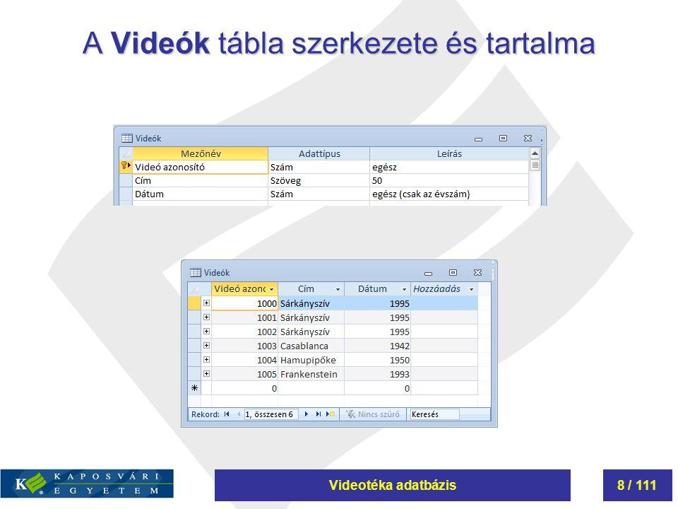Videotéka adatbázis8 / 111 A Videók tábla szerkezete és tartalma
