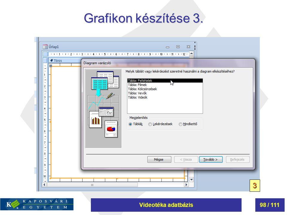 Videotéka adatbázis98 / 111 Grafikon készítése 3. 3