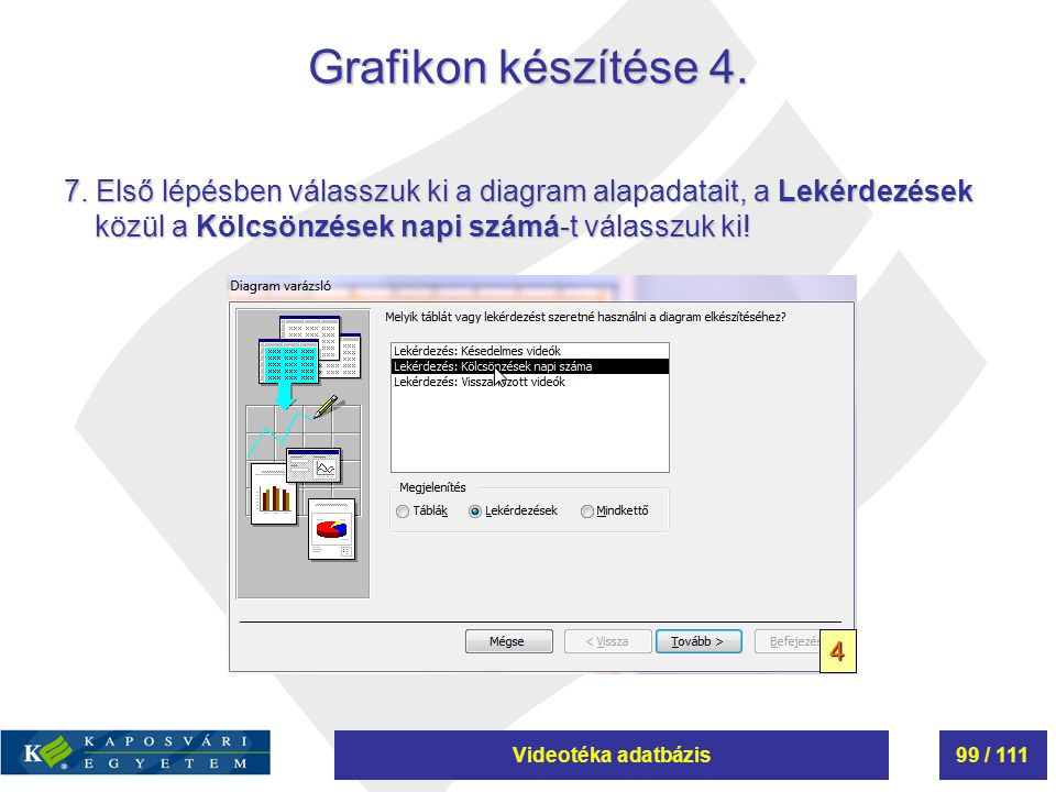 Videotéka adatbázis99 / 111 Grafikon készítése 4. 7. Első lépésben válasszuk ki a diagram alapadatait, a Lekérdezések közül a Kölcsönzések napi számá-