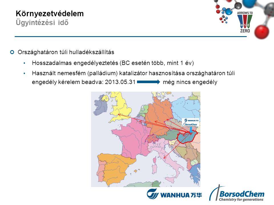 Országhatáron túli hulladékszállítás Hosszadalmas engedélyeztetés (BC esetén több, mint 1 év) Használt nemesfém (palládium) katalizátor hasznosítása o