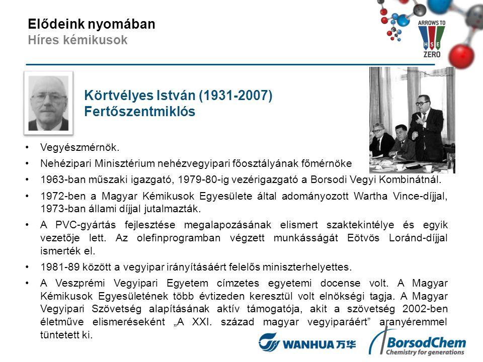 Körtvélyes István (1931-2007) Fertőszentmiklós Vegyészmérnök. Nehézipari Minisztérium nehézvegyipari főosztályának főmérnöke 1963-ban műszaki igazgató