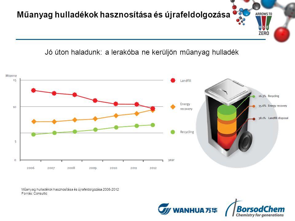 Jó úton haladunk: a lerakóba ne kerüljön műanyag hulladék Műanyag hulladékok hasznosítása és újrafeldolgozása 2006-2012 Forrás: Consultic Műanyag hull