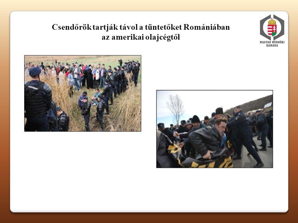 Csendőrök tartják távol a tüntetőket Romániában az amerikai olajcégtől