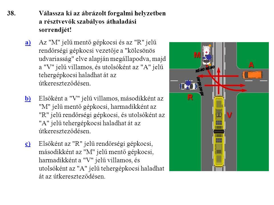 38.Válassza ki az ábrázolt forgalmi helyzetben a résztvevők szabályos áthaladási sorrendjét.