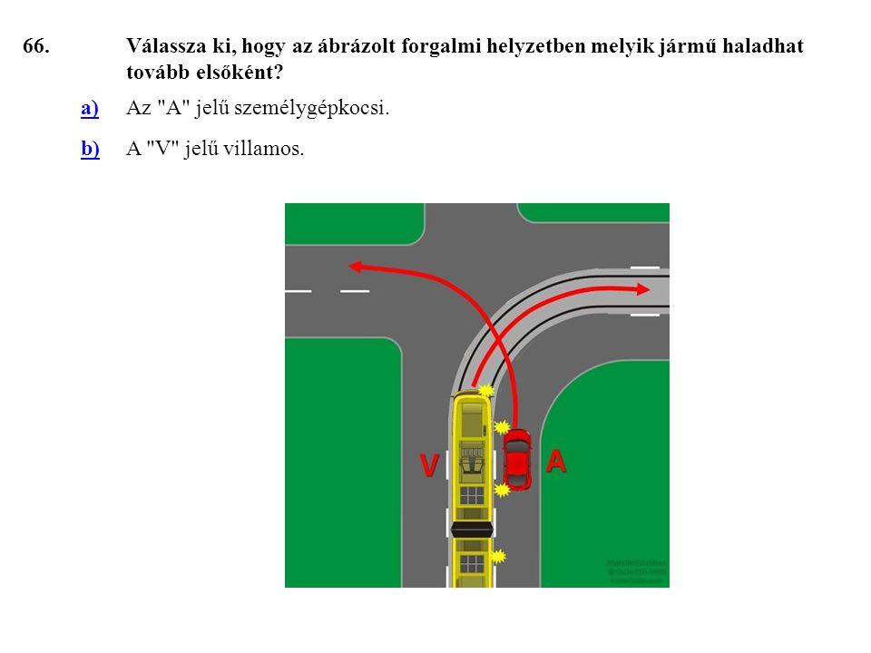 66.Válassza ki, hogy az ábrázolt forgalmi helyzetben melyik jármű haladhat tovább elsőként.