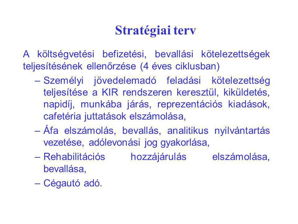 Stratégiai terv A költségvetési befizetési, bevallási kötelezettségek teljesítésének ellenőrzése (4 éves ciklusban) –Személyi jövedelemadó feladási kö