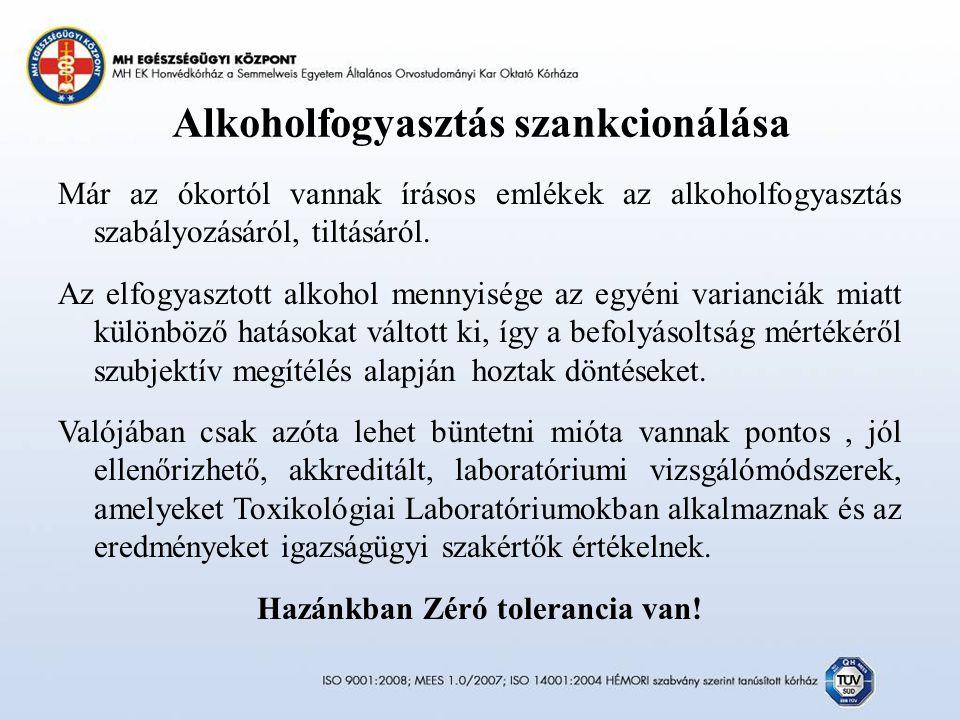 Alkoholfogyasztás szankcionálása Már az ókortól vannak írásos emlékek az alkoholfogyasztás szabályozásáról, tiltásáról.