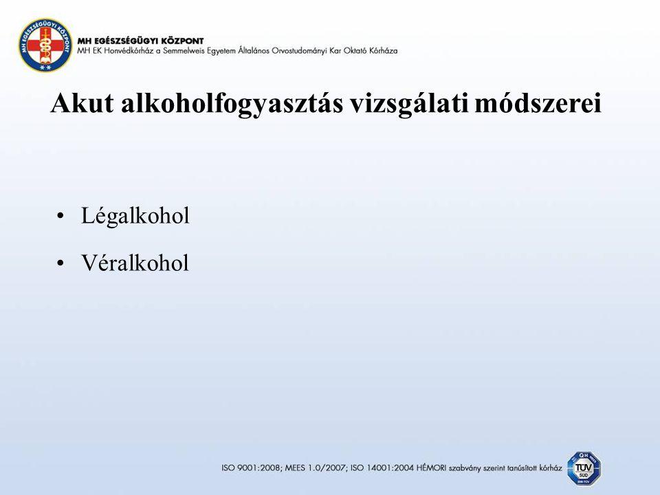Akut alkoholfogyasztás vizsgálati módszerei Légalkohol Véralkohol