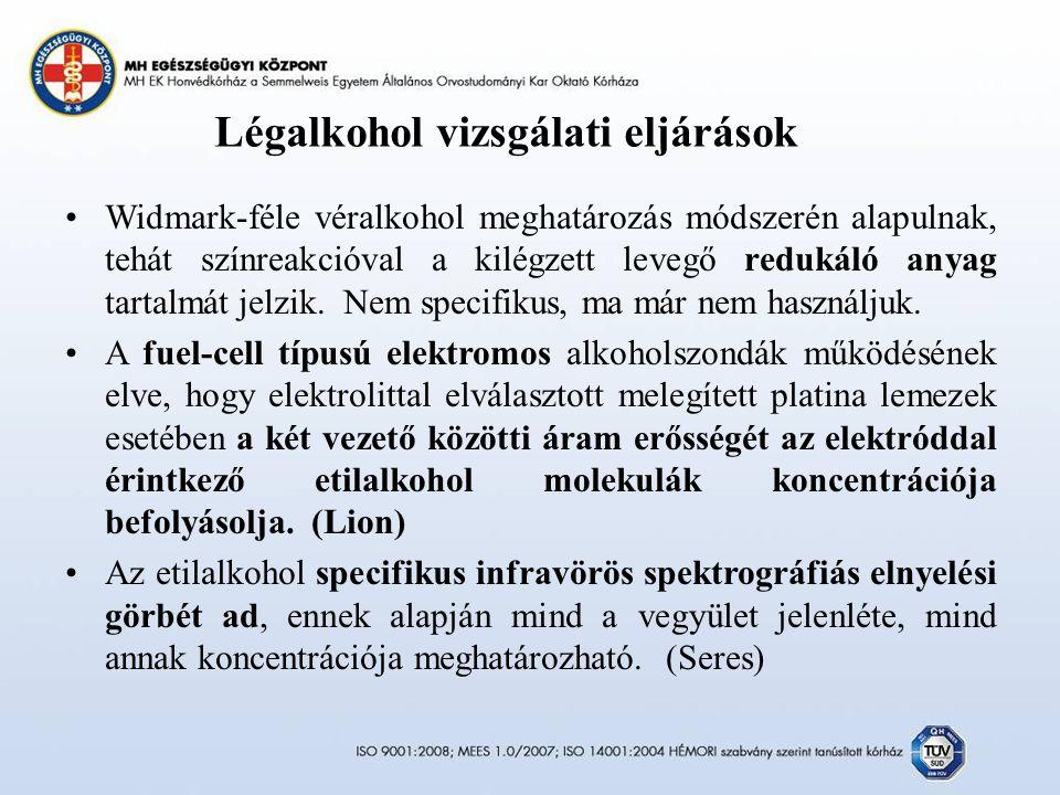 Légalkohol vizsgálati eljárások Widmark-féle véralkohol meghatározás módszerén alapulnak, tehát színreakcióval a kilégzett levegő redukáló anyag tartalmát jelzik.