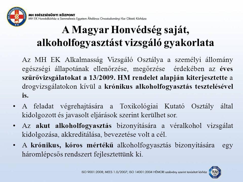 A Magyar Honvédség saját, alkoholfogyasztást vizsgáló gyakorlata Az MH EK Alkalmasság Vizsgáló Osztálya a személyi állomány egészségi állapotának ellenőrzése, megőrzése érdekében az éves szűrővizsgálatokat a 13/2009.
