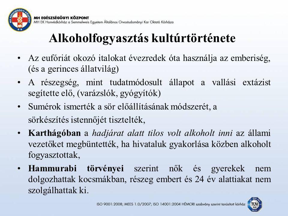 Alkoholfogyasztás kultúrtörténete Az eufóriát okozó italokat évezredek óta használja az emberiség, (és a gerinces állatvilág) A részegség, mint tudatmódosult állapot a vallási extázist segítette elő, (varázslók, gyógyítók) Sumérok ismerték a sör előállításának módszerét, a sörkészítés istennőjét tisztelték, Karthágóban a hadjárat alatt tilos volt alkoholt inni az állami vezetőket megbüntették, ha hivataluk gyakorlása közben alkoholt fogyasztottak, Hammurabi törvényei szerint nők és gyerekek nem dolgozhattak kocsmákban, részeg embert és 24 év alattiakat nem szolgálhattak ki.