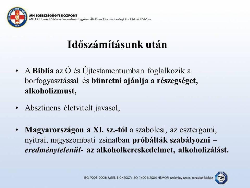 Időszámításunk után A Biblia az Ó és Újtestamentumban foglalkozik a borfogyasztással és büntetni ajánlja a részegséget, alkoholizmust, Absztinens életvitelt javasol, Magyarországon a XI.