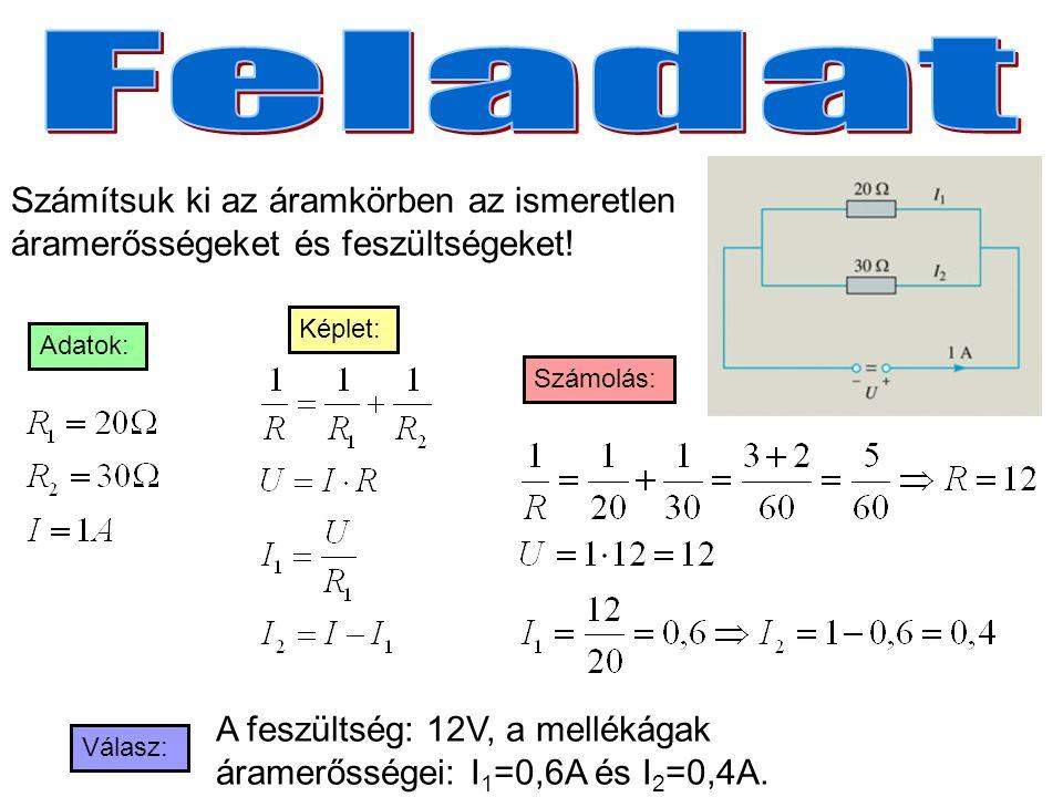 Számítsuk ki az áramkörben az ismeretlen áramerősségeket és feszültségeket! A feszültség: 12V, a mellékágak áramerősségei: I 1 =0,6A és I 2 =0,4A. Ada