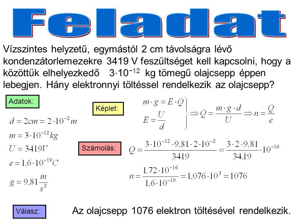 Vízszintes helyzetű, egymástól 2 cm távolságra lévő kondenzátorlemezekre 3419 V feszültséget kell kapcsolni, hogy a közöttük elhelyezkedő 3 ⋅ 10 −12 k