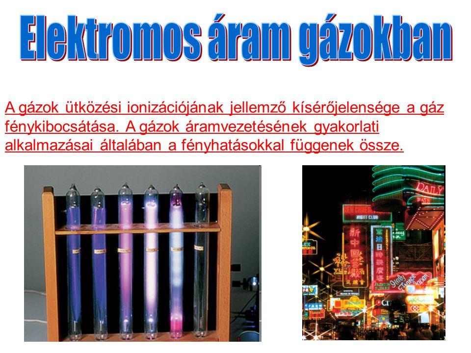 A gázok ütközési ionizációjának jellemző kísérőjelensége a gáz fénykibocsátása. A gázok áramvezetésének gyakorlati alkalmazásai általában a fényhatáso