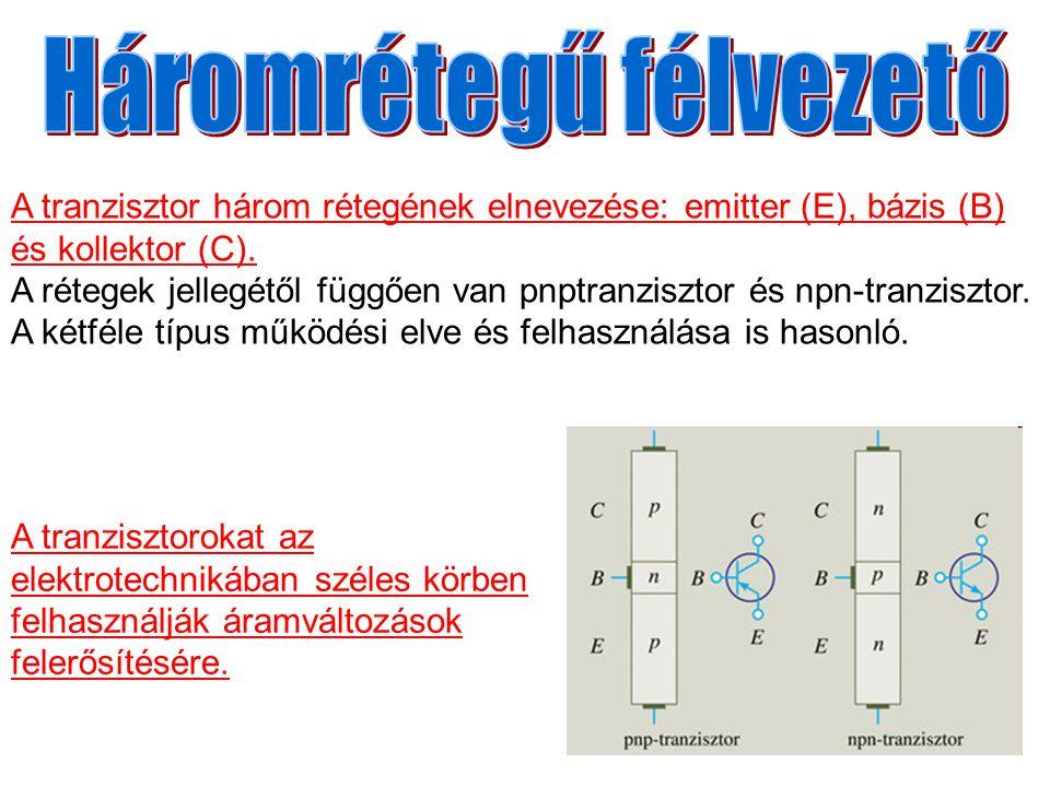 A tranzisztor három rétegének elnevezése: emitter (E), bázis (B) és kollektor (C). A rétegek jellegétől függően van pnptranzisztor és npn-tranzisztor